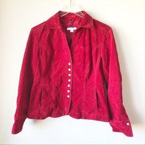 Dressbarn | Red suede button up coat
